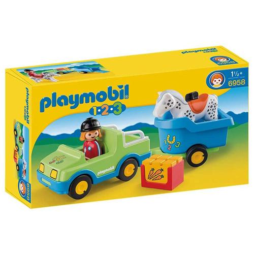 Auto s koňským přívěsem Playmobil s panáčkem a koněm, 5 dílků