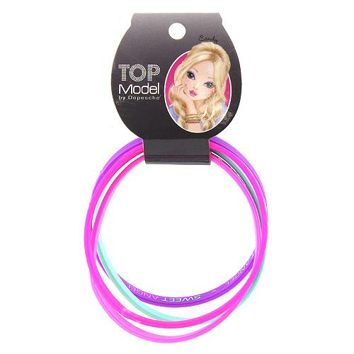 Náramky Top Model Gumové, 2x růžová + fialová + aqua