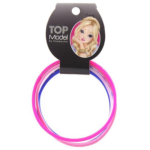 Náramky Top Model Gumové, 2x růžová + modrá + transparentní