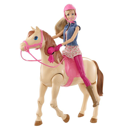 Barbie Šampiónka s koněm Mattel Žokejka a chodící kůň