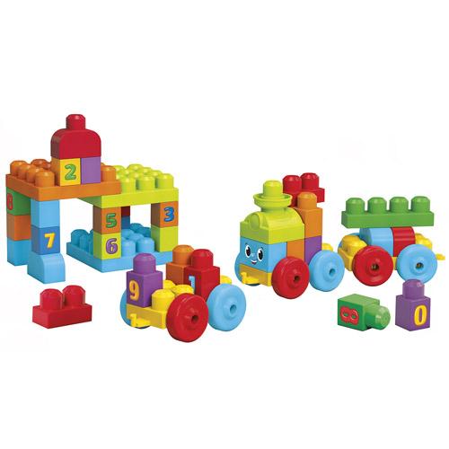 Mattel Kostky Mega Bloks 50 ks - naučný vláček First Builders