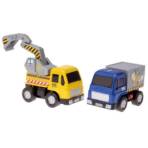 Dvě autíčka Dickie 2 ks - stavební a nákladní auto 10 cm