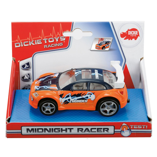 Závodní auto Dickie Midnight Racer, světla a zvuky, barva oranžová