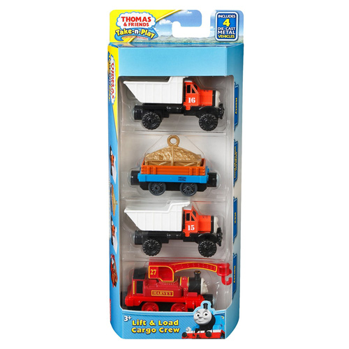 Set Mašinka Tomáš Mattel 4 ks - lokomotiva, vagón a 2 nákladní auta