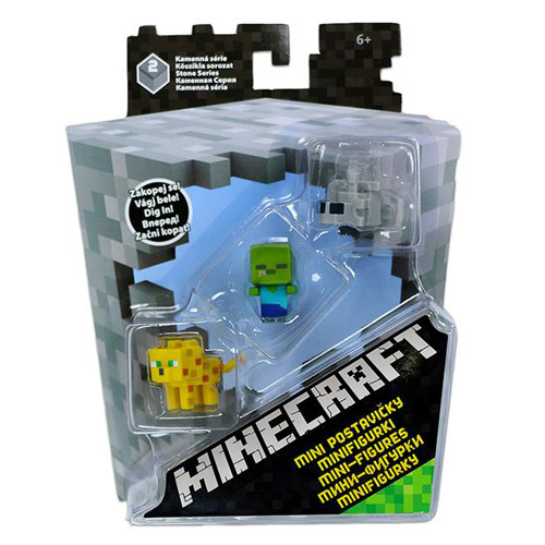 Minifigurky Minecraft Mattel 3 ks - Creeper, Ocelot a Skeleton