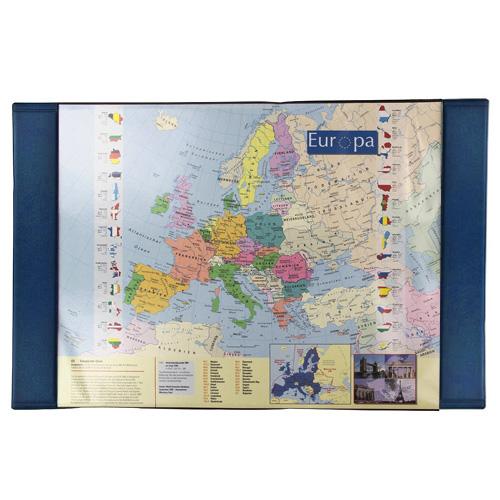 Podložka na stůl Idena Rozměr 68 x 44 cm - mapa Evropy, modrý podklad