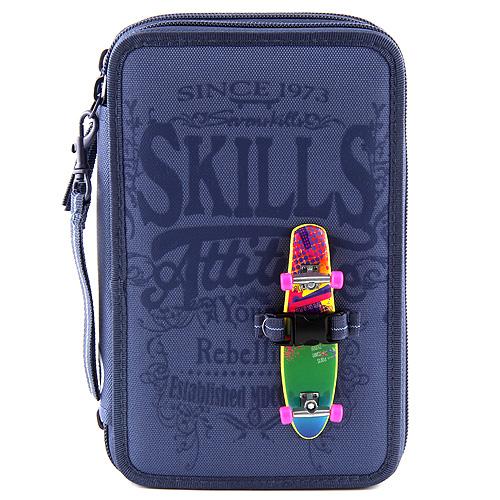 Školní penál 7Skills Modrý - třípatrový penál s výbavou
