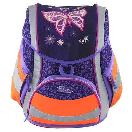 Školní aktovka Target Motýl - reflexní, fialovo-oranžová