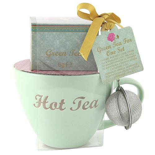 Dárkové sety Dárková sada Zelený hrnek, čaj + sítko