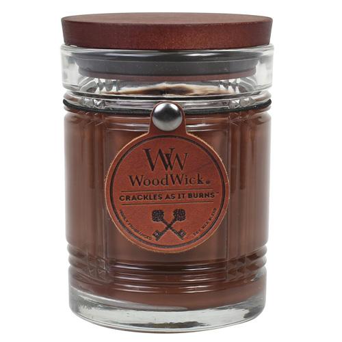Svíčka skleněná váza WoodWick Černý čaj, 226.8 g