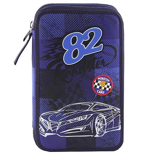 """Penál s výbavou Monster Cars Modrý, plastický potisk """"82"""", auto"""