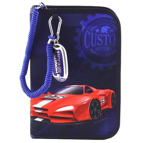 Penál s výbavou Monster Cars Modrý, plastické červené auto Mick
